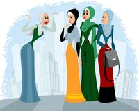 Arab women talking outdoors. Vector illustration of arab women talking outdoors royalty free illustration