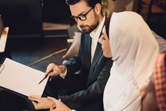 Arab woman tested at psychotherapist office. stock image