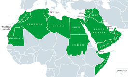 Arab World political map. Also called Arab nation, consists of twenty-two arabic-speaking countries of the Arab League. All nations in green color, plus royalty free stock image