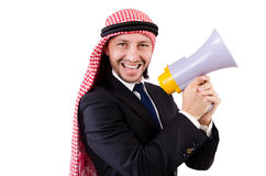 Arab yelling with loudspeaker Stock Photography