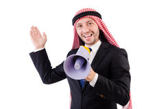 Arab yelling with loudspeaker Royalty Free Stock Image
