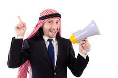 Arab yelling with loudspeaker Royalty Free Stock Photography