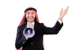 Arab yelling with loudspeaker Royalty Free Stock Photos