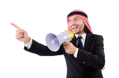 Arab yelling with loudspeaker Stock Image