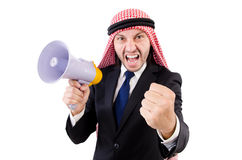 Arab yelling with loudspeaker Stock Photo