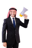 Arab yelling with loudspeaker isolated Royalty Free Stock Image