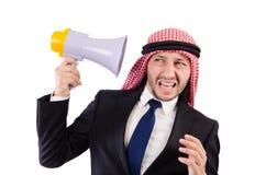 Arab yelling with loudspeaker isolated Stock Image