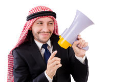 Arab yelling with loudspeaker isolated Royalty Free Stock Images