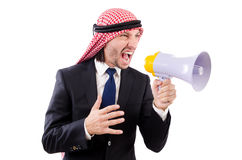 Arab yelling with loudspeaker isolated Royalty Free Stock Photography