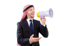 Arab yelling with loudspeaker isolated Royalty Free Stock Photos