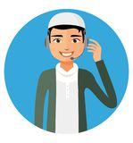 Arab yemen operator man with headset customer service helpdesk s Royalty Free Stock Photos