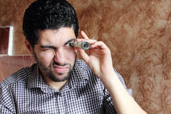 Arab young businessman with dollar bill money Stock Images