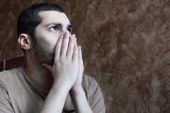 Arab young egyptian businessman thinking feeling despair Stock Photo