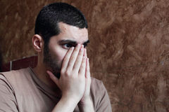 Arab young egyptian businessman thinking feeling despair Stock Photography