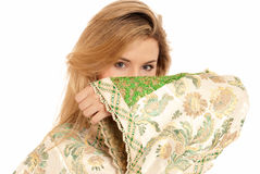 Arab young woman hidden face isolated on white Royalty Free Stock Photo