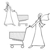 Arab young woman pushing a shopping cart. Vector hand drawn illustration set - two arab young women in traditional muslim dress pushing a shopping cart Royalty Free Stock Photography