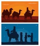 Arab z wielbłądami na pustyni Fotografia Royalty Free
