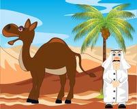 Arab z wielbłądem w pustyni Obraz Royalty Free