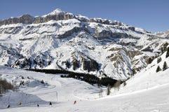 arabba白云岩陡峭运行的滑雪 库存照片