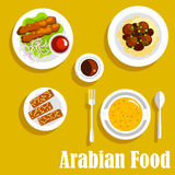 Arabdisk med kebab, falafels, halvasymbol vektor illustrationer