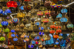 Arabe lamps. Arabes lamps hanging in store Royalty Free Stock Photography