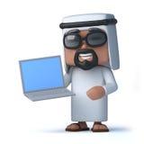Araber 3d hat einen neuen Laptop Lizenzfreies Stockbild