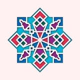 Arabesk, arabska winieta, ukierunkowywa kolorowego witraż Projekt dla Eid Mosul, Ramadan, dekoracyjna islamska płytka ilustracji