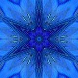 Arabesk, błękitnej gwiazdy płytka, wibrujący neonowy mandala zdjęcie stock