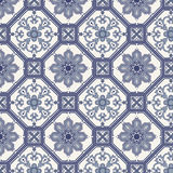 Arabeskowy bezszwowy wzór w błękicie i siwieje ilustracja wektor