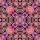 Arabeskowy kwiecisty wektorowy bezszwowy wzór Ornamentacyjny rozjarzony Adamaszkowy tło Elegancja różowy rocznik kwitnie z złocis ilustracja wektor