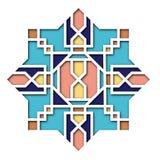 Arabeskowy projekt, winieta w wschodnim stylu, ukierunkowywa kolorowego witraż Wzór dla Eid Mosul, dekoracyjny islamski royalty ilustracja