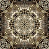 Arabeskowy złota 3d wektorowy bezszwowy wzór Kwiecisty rocznika języka arabskiego stylu tło Luksusowej powtórki kwiecisty tło ele ilustracja wektor