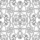 Arabesku stylowy kwiecisty Adamaszkowy czarny i biały wektorowy bezszwowy wzór Elegancja rocznika monochromatyczny tło Abstrakcjo ilustracji
