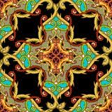 Arabesku stylowy kwiecisty Adamaszkowy kolorowy wektorowy bezszwowy wzór Elegancja rocznika arabski tło Abstrakcjonistyczna ręka  ilustracja wektor