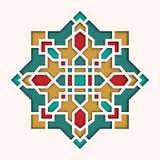 Arabesku wzór, winieta w wschodnim stylu, ukierunkowywa kolorowego witraż Projekt dla Eid Mosul, dekoracyjny islamski royalty ilustracja