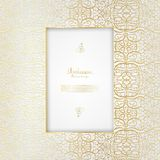 Arabesque abstract element gold pattern background template vect. Or design Royalty Free Stock Photography