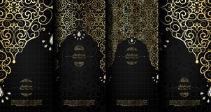 Arabesque abstract islamic element classy black and gold background card template vector set royalty free illustration