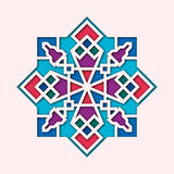 Arabesque, arabic vignette, orient colorful stained-glass. Design for Eid Mubarak, Ramadan, decorative islamic tile of Royalty Free Stock Photo