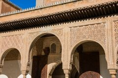 Arabesque architecture arches. Alhambra of Granada. Spain Royalty Free Stock Images