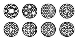 Free Arabesque Circle, Round Element Set For Laser Cutting ,stencil, Engraving. Geometric Round Arabic Pattern For Glass Royalty Free Stock Images - 182120969