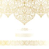 Arabesque eastern element vintage white and gold background vector. Design stock illustration