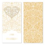 Arabesque eastern element white and gold background card templat Royalty Free Stock Image