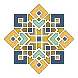 Arabesque eastern pattern, vignette in islamic style, oriental colorful stained-glass. Illustration for Eid Mubarak. Decorative tile of mosque 3d. Spanish royalty free illustration