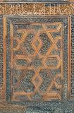 Arabesque floral engraved patterns of wooden ornate door leaf. Cairo, Egypt Royalty Free Stock Photography