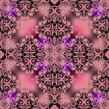 Arabesque floral vector seamless pattern. Ornamental glowing Damask background. Elegance pink vintage flowers with gold outline. vector illustration