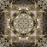 Arabesque gold 3d vector seamless pattern. Floral vintage arabic style background. Luxury repeat floral backdrop. Elegance vector illustration