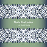 Arabesque lace damask seamless border floral decoration print fo. R design template vector. Eastern style pattern. Ornamental illustration for invitation Stock Photography