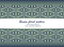 Arabesque lace damask seamless border floral decoration print fo. R design template vector. Eastern style pattern. Ornamental illustration for invitation Royalty Free Stock Image