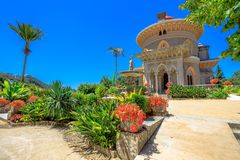 Arabesque Monserrate Palace. Sintra, Portugal famous landmark. The arabesque Monserrate Palace or Palacio de Monserrate, the summer resort of Portuguese court Royalty Free Stock Image