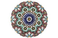 Arabesque Mosaic Pattern. Circle,  isolated on a white background Royalty Free Stock Photos